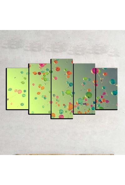 Kanvas Burada ABS5-516 Soyut 5 Parçalı Kanvas Tablo - 120 x 60 cm