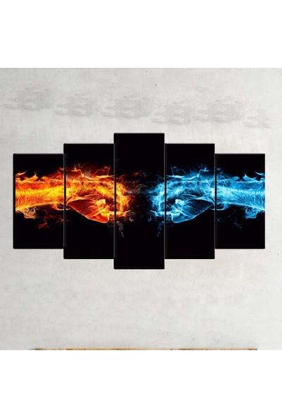 Kanvas Burada ABS5-657 Soyut 5 Parçalı Kanvas Tablo - 120 x 60 cm