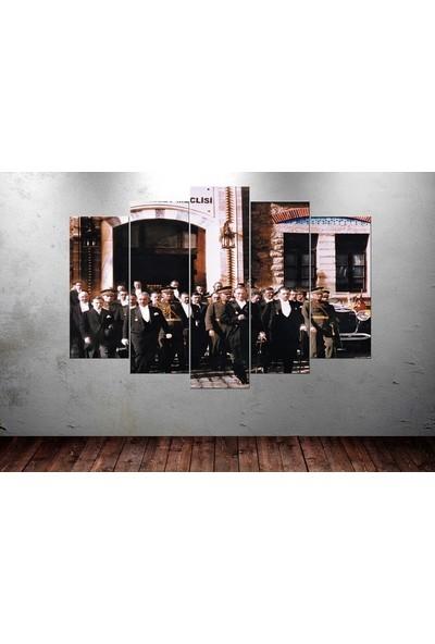 Kanvas Burada ATA5-21 Atatürk 5 Parçalı Kanvas Tablo - 120 x 60 cm