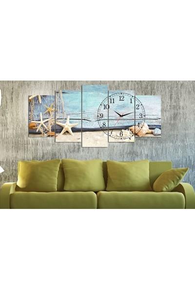 Kanvas Burada CL5-21 Saatli 5 Parçalı Kanvas Tablo - 120 x 60 cm