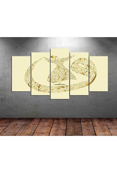 Kanvas Burada DİN5-117 Semazen Hat Sanatı Dini Dekoratif 5 Parçalı Kanvas Tablo - 120 x 60 cm