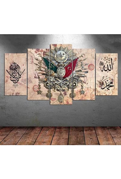 Kanvas Burada TURK5-284 Piri Reis Harita Osmanlı Arması La Galiba İllallah 5 Parçalı Kanvas Tablo - 120 x 60 cm