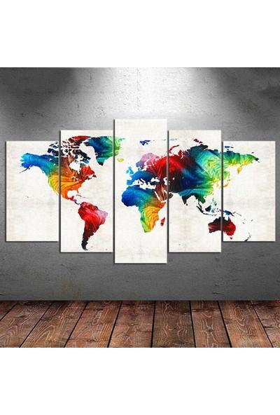 Kanvas Burada DEK5-10 Dünya Haritası 5 Parçalı Kanvas Tablo - 120 x 60 cm