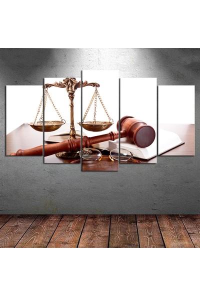 Kanvas Burada DEK5-46 Adalet Terazisi 5 Parçalı Kanvas Tablo - 150 x 75 cm