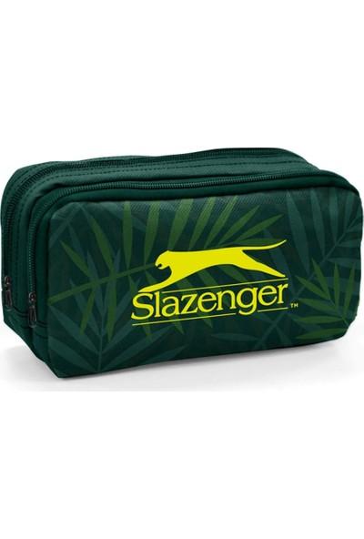 Slazenger Yaprak Desenli Yeşil Kalem Çantası İki Bölmeli - 12430