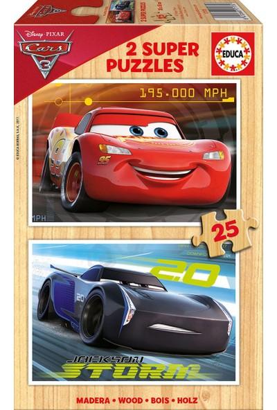 Educa 17173 - 2x25 Parça Cars 3 Ahşap Çocuk Puzzle