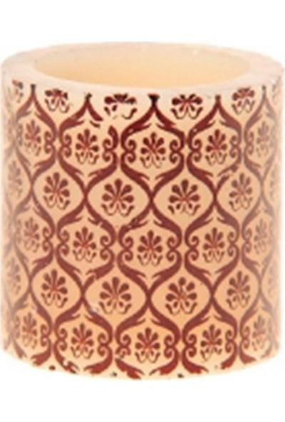Allmode Mrq Desenlı Mum Oranjkahve 4 x 4 cm Mı.8241C