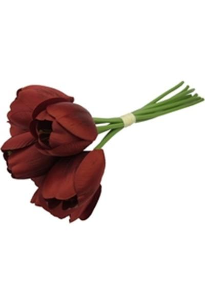 Allmode Dekoratif Çiçek Kırmızı Lale 7'Li Buket