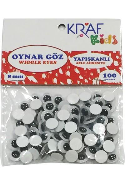 Kraf Kids Yapışkanlı Oynar Göz 8 mm 100'lü