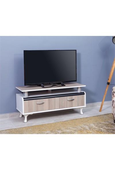 Allmode 3854 Bombeli 106 Cm Lik 2 Çekmeceli Lcd Tv Sehpası Beyaz Cordoba