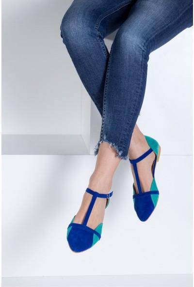 Fox Shoes Saks Mavi Su Yeşili Kadın Babet B726881802