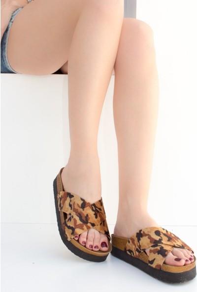 Fox Shoes Kahve Kamuflaj Kadın Terlik B777742202