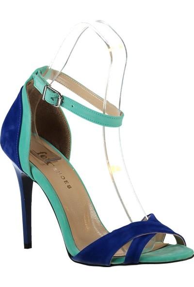 Fox Shoes Su Yeşili Saks Kadın Topuklu Ayakkabı B922113802