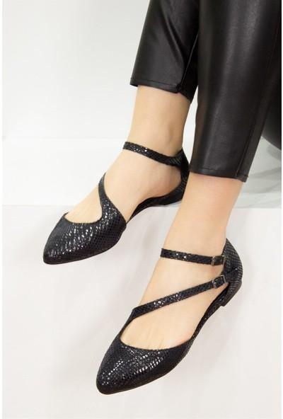 Fox Shoes Siyah Kadın Babet D726016907