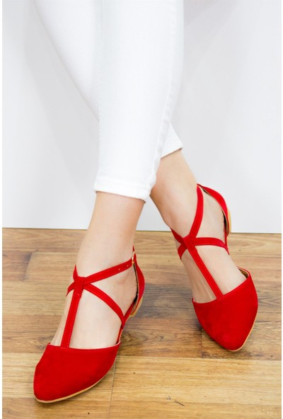 Fox Shoes Kırmızı Kadın Babet D726537302