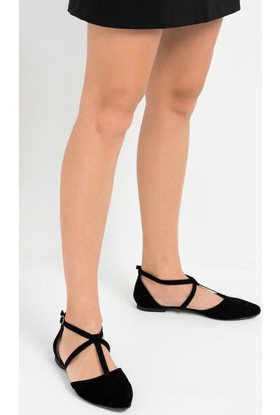 Fox Shoes Siyah Kadın Babet D726537302