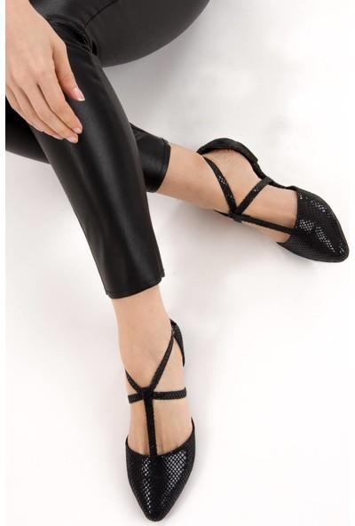 Fox Shoes Siyah Kadın Babet D726537307