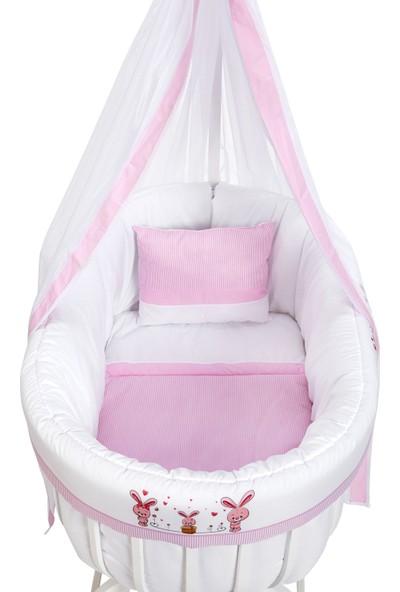 Baby Tech Ahşap Sepet Beşik Yeni Desenli Uyku Seti İle