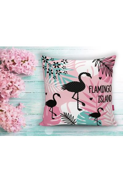 Realhomes Flamingo Desenli Dijital Baskılı Yastık Kırlent Kılıfı