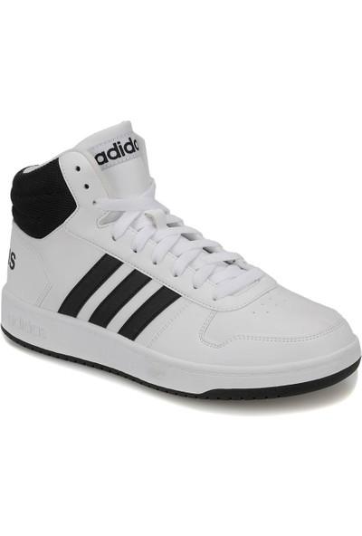 Adidas Hoops 2.0 Mid Beyaz Siyah Erkek Basketbol Ayakkabısı