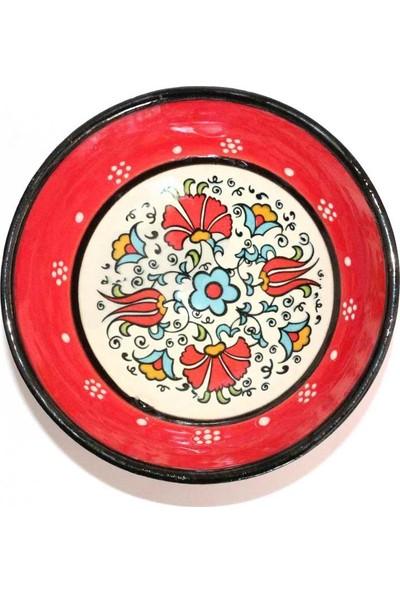 İlbay 10 Cm Kütahya Çini Kırmızı Renk Kase