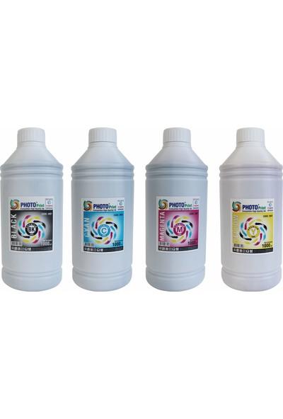 Photo Print Epson Yazıcılar İçin Tüm Modellere Uyumlu Bitmeyen Kartuş 4 Renk x 1000 ml Mürekkep Seti