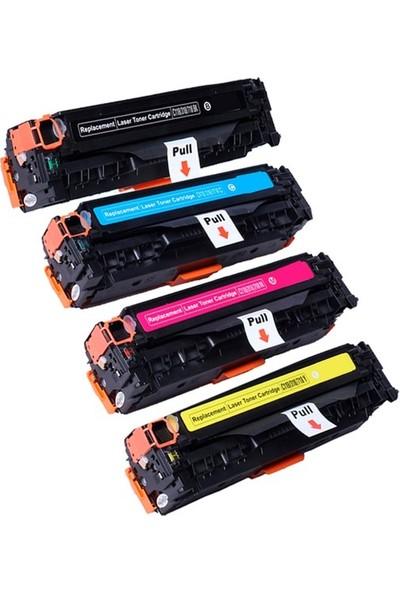 Photo Pri̇nt HP CB540A-CB541A-CB542A-CB543A Renkli 4 Adet Muadil Toner Seti