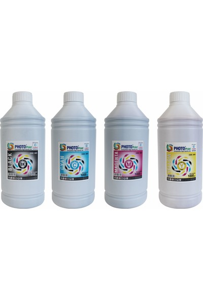 Photo Print HP Yazıcılar İçin Tüm Modellere Uyumlu Bitmeyen Kartuş 4 Renk x 1000 ml Mürekkep Seti