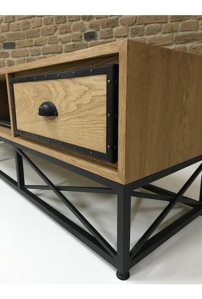 Ahşap Sokağı Elanor Metal Ayaklı Ahşap Tv Sehpası 160 cm