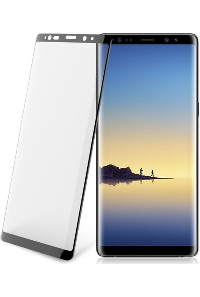 Case 4U Samsung Galaxy Note 8 Tam Kaplayan Temperli Cam Ekran Koruyucu - Siyah