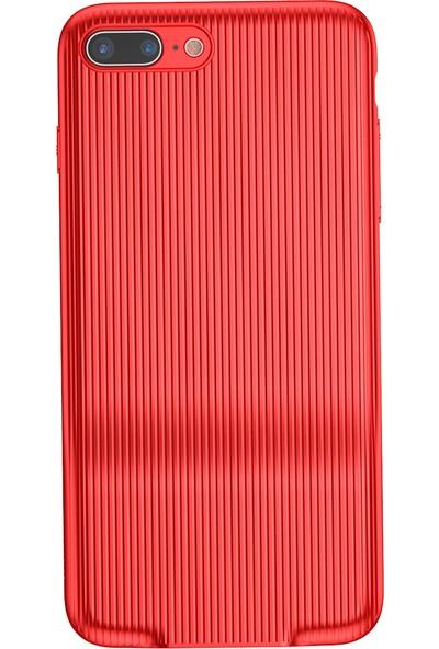 Baseus iPhone 7 Plus Audio Serisi Çift Şarj Girişli Sert PC Kılıf Kırmızı + Ekran Koruyucu
