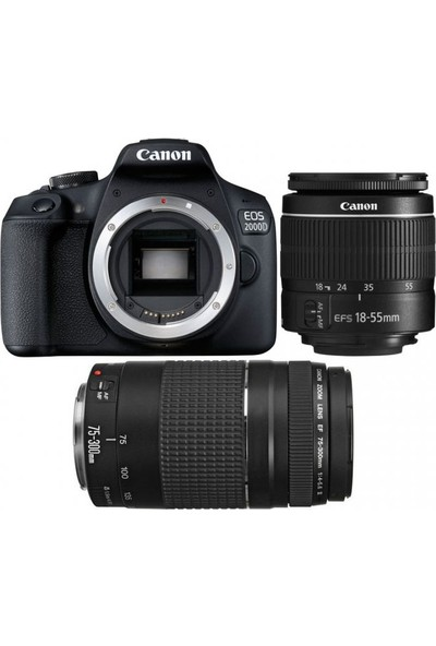 Canon EOS 2000D + 18-55 MM. IS2 + 75-300 MM. Double Kit ( Canon Eurasia Garantili)