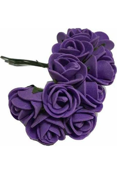 Çiçek Lateks Eva Yapay Çiçek Gül Mor 2 cm * 2 cm 144 adet=12 Dal
