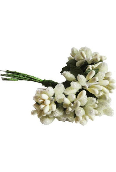 Çiçek Yapay Tomurcuk Çiçek Krem 2cm*2cm 1 Dal = 12 Adet
