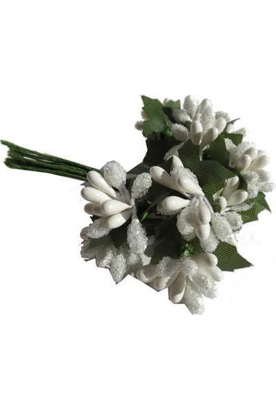 Çiçek Yapay Tomurcuk Çiçek Beyaz 2cm*2cm 1 Dal = 12 Adet