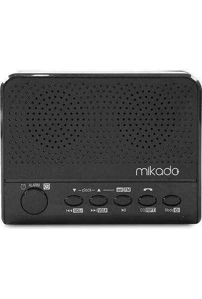 Mikado Md-A24 Siyah Saat Ve Alarmlı Usb+Sd+Fm Destekli Bluetooth Speaker