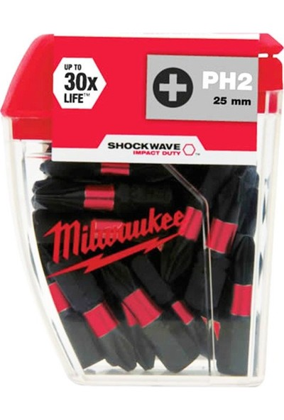Milwaukee Bits Uç Ph2 25 mm 25'li Paket Shockwave
