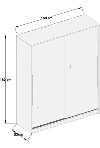 Aeka Kamer Ae-4001 Zambak Sürgü Kapaklı 2 Çekmeceli Gardırop - Beyaz Meşe