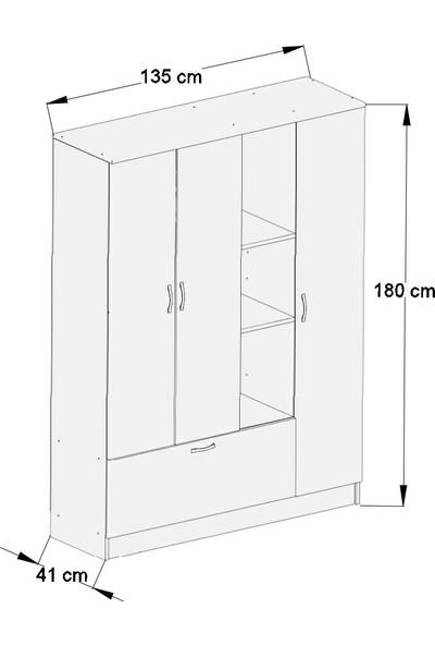 Aeka Kamer Ae1058 Melisa 4 Kapaklı Gardırop - Beyaz