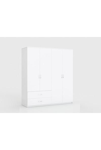 Aeka Kamer Beta 4 Kapaklı 2 Çekmeceli Gardırop - Beyaz