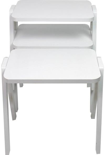 Zigon Sehpa Kare Beyaz -Beyaz Ayak - Duru Model