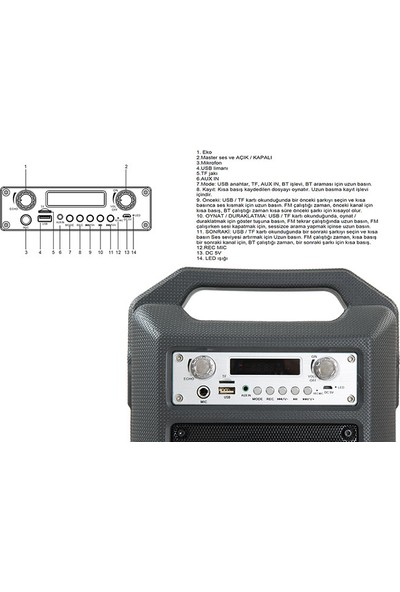 Mikado MD-BT20S 20W Siyah Usb+SD+Fm Destekli LEDli Uzaktan Kumandalı Bluetooth Toplantı Anfisi