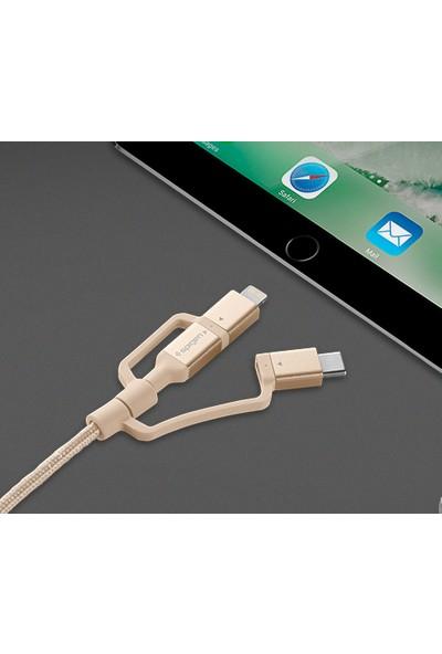 Spigen Essential C10i3 3in1 Lightning + Type-C + Micro USB to USB 2.0 Dayanıklı Naylon Örgü Data ve Şarj Kablosu (1.5m) Gold - ZA000CB23018