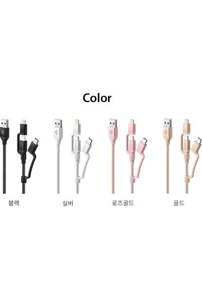 Spigen Essential C10i3 3in1 Lightning + Type-C + Micro USB to USB 2.0 Dayanıklı Naylon Örgü Data ve Şarj Kablosu (1.5m) Rose Gold - ZA000CB23019
