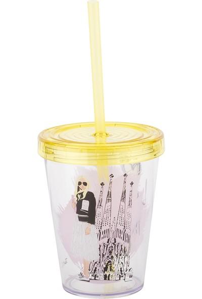 Tantitoni Sarışın Kız Desenli Pipetli Plastik Bardak - 470 ml