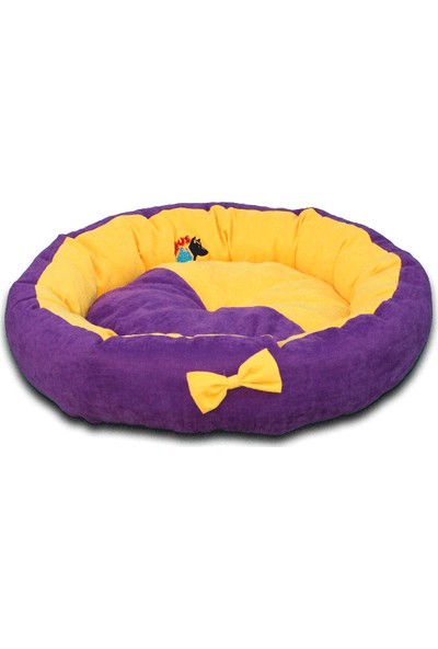 Lepus Papyonlu Lüx Yuvarlak Kedi Köpek Yatağı 59 Cm Sarı Mor
