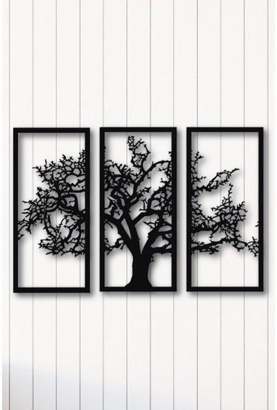 Angemiel Home Ağaç Üçlü Dekor Metal Duvar Tablosu Ev Ve Ofis Dekorasyonu Tablo