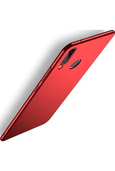 Sunix Huawei P20 Lite İnce Mat Kırmızı Silikon Kılıf + 3D Tam Koruma Cam