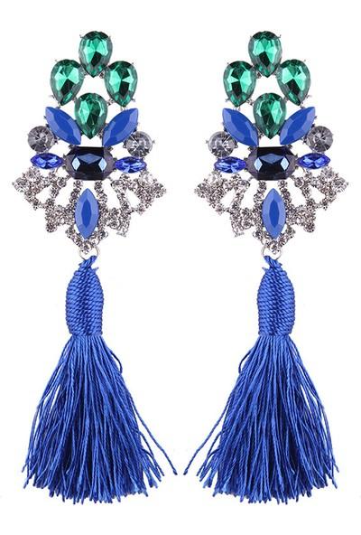 Myfavori Mavi Püsküllü Küpe Mavi Yeşil Taşlar Abiye Küpe Modelleri