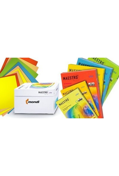 Maestro Color A4 Renkli Fotokopi Kağıdı Sarı (Kanarya) CY39 1 Koli (5 Paket 2500 Sayfa)